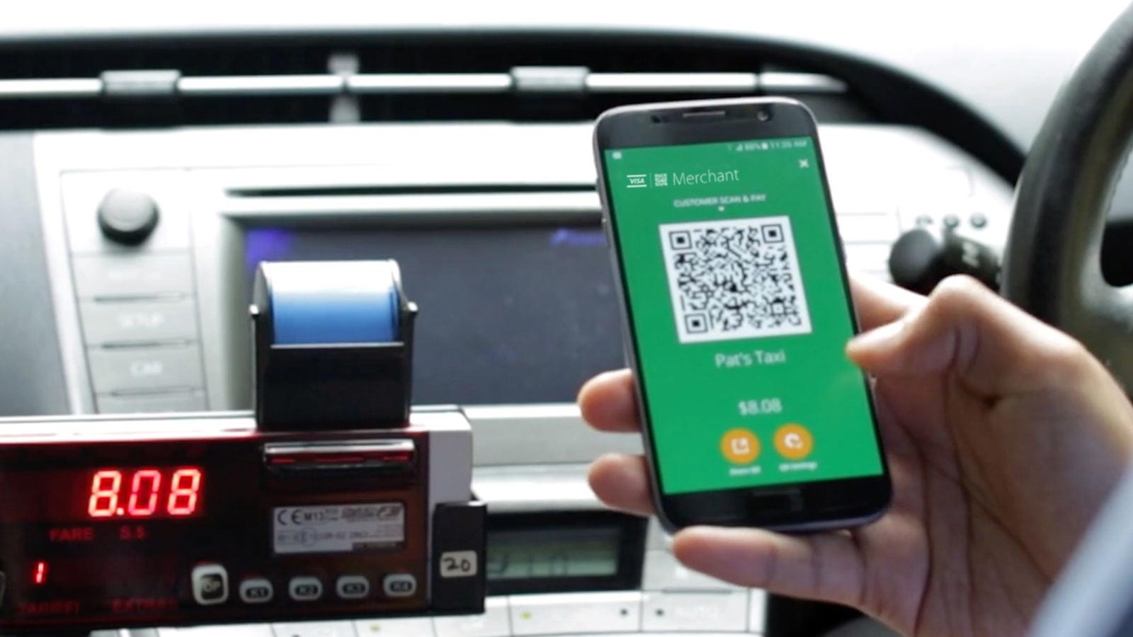 Gebruik Scan to pay in taxi's